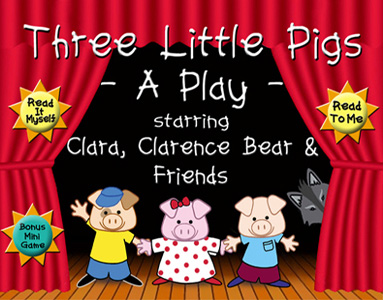 Image of Three Little Pigs characters on stage -  story as Apple app - by childrens illustrator  Cat Wong