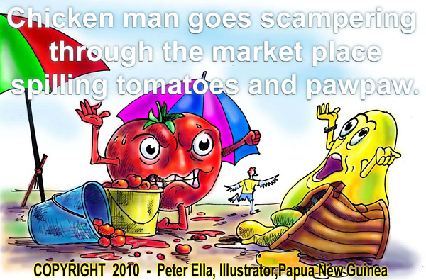Tomato character and Paw Paw character with frayed nerves in Chicken man adventures children's storey - after Chicken man upsets their beach sellers stands